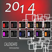 Creative Happy New Year 2014 celebration background. Infographic Calendars Vector — Vettoriale Stock