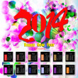Creative Happy New Year 2014. Infographic Calendars. Vector — Vettoriale Stock