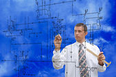 Engineer.Designing engineering industrial — Stock Photo
