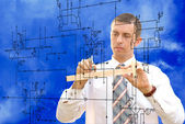 Engineer.Engineering construction designing — Stock Photo