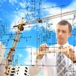 Engineering construction designing.Engineer designer — Stock Photo