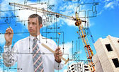 Engineering building designing.Profession Engineer — Stock Photo