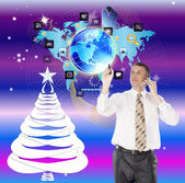 Creative Internet design in New Year.Holiday Network — Stock Photo