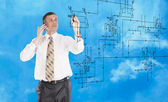 Industrial designing technology.Engineer — Stock Photo