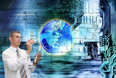 Computers programming engineering technologies.Globalization — Stock Photo