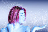 Girl cold beauty on abstract blue background with white snow flying.Winter Women — Stock Photo
