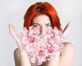 Woman with lily heart.Valentine Day — Stock Photo