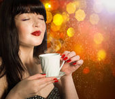 Woman with Cup of Hot Beverage.Coffee. — Stockfoto