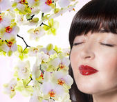 Face beautiful Japanese Girl.Spa.Skin Care. — Stock Photo