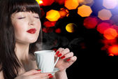Beautiful Woman with Cup of Hot Beverage.Coffee. — Stock Photo