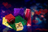 Gifts Boxes.Valentines Day.Holiday Card — Stock Photo