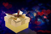 Gift Golden Box.Valentines Day.Holiday — Stock Photo