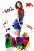 Bella ragazza felice da sconti su vacanze sales.holiday shopping — Foto Stock
