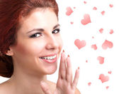 Beauty Young Woman with Valentine Hearts. Love Concept. Valentines Day. — Stock Photo