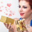 Stock Photo: Beautiful happy girl rejoices gift for Valentine's Day.Holiday