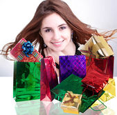 Beautiful Happy Girl and Gifts. — Stock Photo