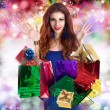 Stock Photo: Beautiful happy girl rejoices gifts for Valentine's Day.Holiday