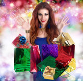 Beautiful happy girl rejoices gifts for Valentine's Day.Holiday — Stock Photo