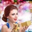 Happy Girl with Gift box.Valentine day.Holiday concept — Stock Photo #39219725