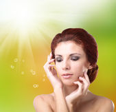 Hygiene Skin Body. Youth and Skin Care. Beauty Young Girl — Stock Photo