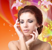 Hygiene Skin Female Body. Youth and Skin Care.Face Beauty Young Girl — Stock Photo