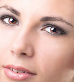 Closeup shot of woman eye with day makeup.Beauty — Stock Photo
