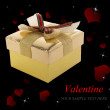 Golden Gift Box in Valentine Day.Holiday Border — Stock Photo #39664013