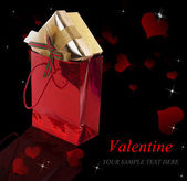 Gifts in Valentine Day.Beautiful Holidays Card — Stock Photo