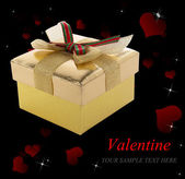 Golden Gift Box in Valentine Day.Holiday Border — Stock Photo