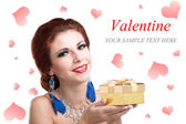 Beauty Young Beautiful Girl with Golden Gift Box.Valentine Day — Foto Stock