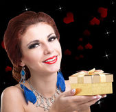 Beauty Young Beautiful Girl with Golden Gift Box.Valentine Day — Stock Photo