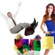 Stressed Man.Shopping for Gifts for the Holidays Young Beautiful Girl — Stock Photo #39817757