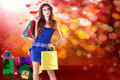 Happy Young Girl with Holidays Gifts in Valentine Day — Stock Photo