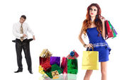 Stressed Man Family Shopping for Gifts for the holidays Beloved Woman — Stock Photo