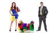 Family Shopping for Gifts for the holidays Beloved Woman — Stock Photo