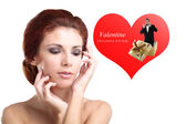 Beauty Young Woman in Happy Dreams in Valentine Day — Stock Photo