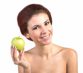 Young Beautiful Girl with Green Fresh Apple on white background — Stock Photo
