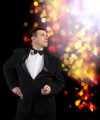 Elegant Adult Fashion Glamour Man in Tuxedo — Stockfoto