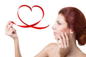 Girl with Valentine Heart.Love Concept — Stock Photo