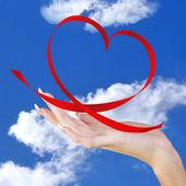 Love.Valentines Day.Red Silk Valentine Heart — Stock Photo