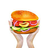 Appetizers Hamburger in female hahds.Fast food — Stock Photo