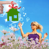 New Home.Gift.Happiness Concept — Stock Photo