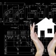Stock Photo: Engineering Technical Industrial Designing for new Home