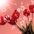Stock Photo: Bouquet beautiful red tulip