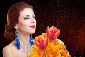 Beauty Woman with Spring Flower — Stock Photo