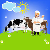 Happy Milkman and Dairy Cows on a green meadow.Sticker Natural Milk Product.Vector — Stock Vector
