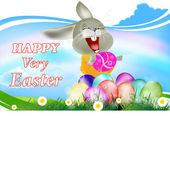 Happy Rabbit and Easter Eggs.Holiday Happy Easter.Vector — Stock Vector