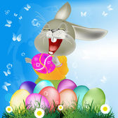 Happy Rabbit with Easter Eggs on the green grass.Holiday Happy Easter.Vector — Stock Vector