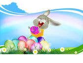 Happy Smiling Rabbit and Easter Eggs.Holiday Easter.Vector — Stock Vector