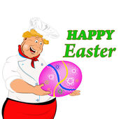 Happy Chef with Easter Egg.Holidays Food.Easter.Vector — Stock Vector